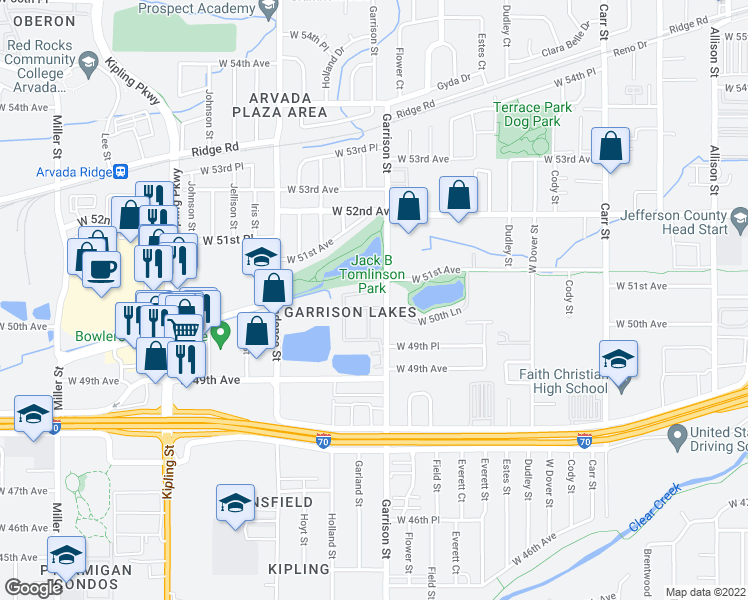 map of restaurants, bars, coffee shops, grocery stores, and more near 5099 Garrison St in Wheat Ridge
