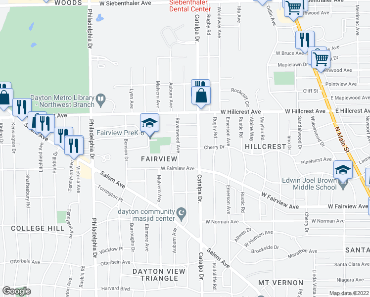 map of restaurants, bars, coffee shops, grocery stores, and more near 1036 Cherry Dr in Dayton