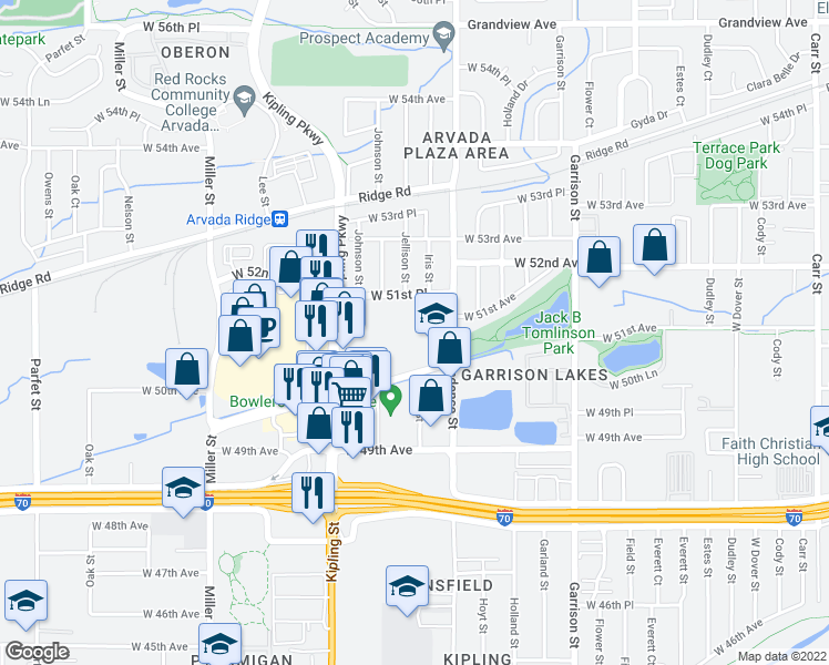 map of restaurants, bars, coffee shops, grocery stores, and more near 9700 West 51st Place in Arvada