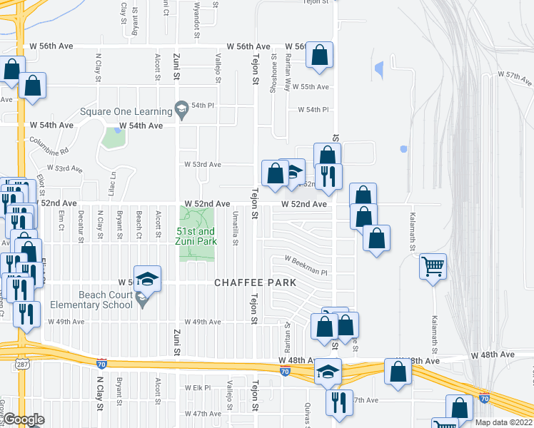map of restaurants, bars, coffee shops, grocery stores, and more near 5165 Shoshone Street in Denver
