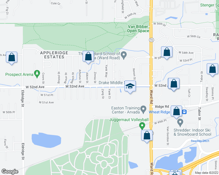 map of restaurants, bars, coffee shops, grocery stores, and more near 5192-5198 Yank Ct in Wheat Ridge