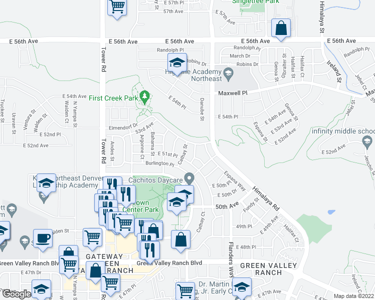 map of restaurants, bars, coffee shops, grocery stores, and more near 5202 Cathay St in Denver