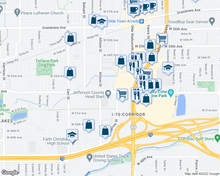 map of restaurants, bars, coffee shops, grocery stores, and more near 5210 Allison Street in Arvada