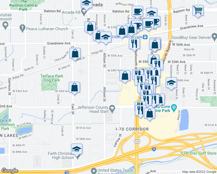 map of restaurants, bars, coffee shops, grocery stores, and more near 5310 Allison Street in Arvada