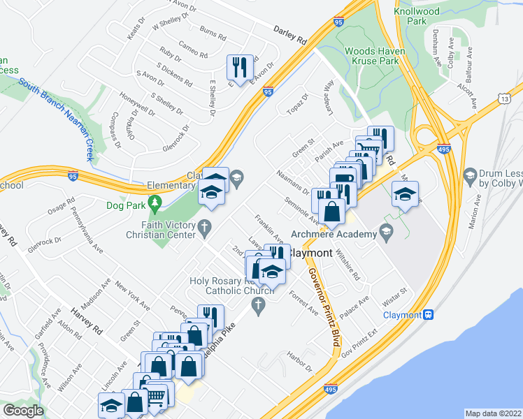 map of restaurants, bars, coffee shops, grocery stores, and more near 6 Leon Avenue in Claymont
