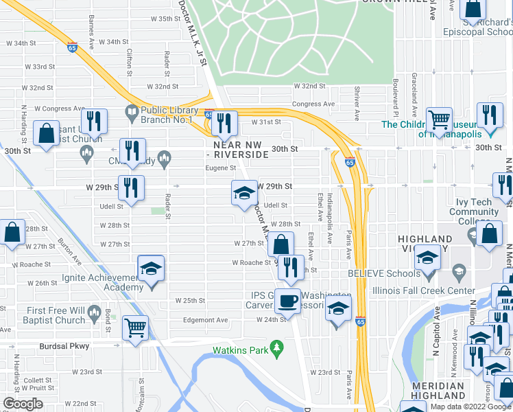 map of restaurants, bars, coffee shops, grocery stores, and more near 2809 West Doctor Martin Luther King Junior Street in Indianapolis