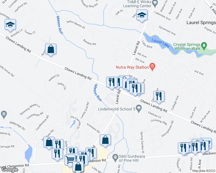 map of restaurants, bars, coffee shops, grocery stores, and more near 800 Chews Landing Road in Lindenwold