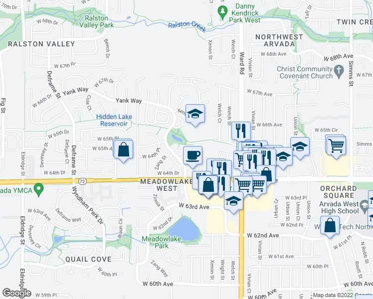 map of restaurants, bars, coffee shops, grocery stores, and more near 12800 West 65th Way in Arvada
