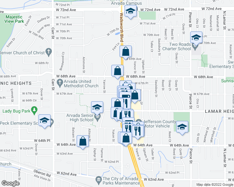 map of restaurants, bars, coffee shops, grocery stores, and more near 7655 West 67th Avenue in Arvada