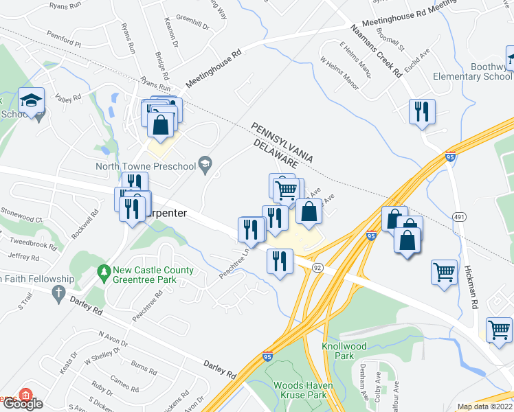 map of restaurants, bars, coffee shops, grocery stores, and more near 749 Montclair Drive in Claymont