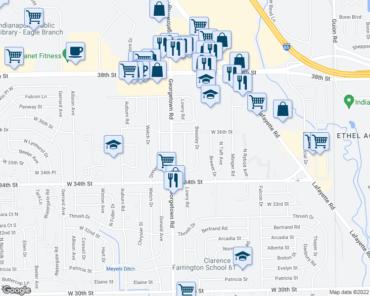 map of restaurants, bars, coffee shops, grocery stores, and more near 3525 Georgetown Rd in Indianapolis