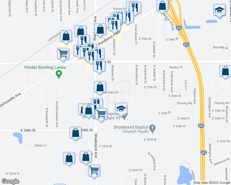 map of restaurants, bars, coffee shops, grocery stores, and more near 7183 Twin Oaks Drive in Indianapolis