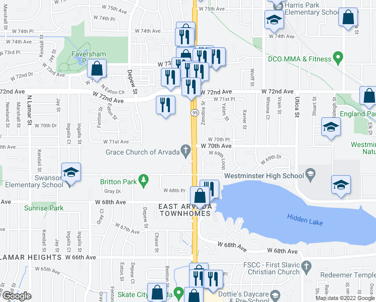 map of restaurants, bars, coffee shops, grocery stores, and more near 6991-7001 Sheridan Boulevard in Arvada