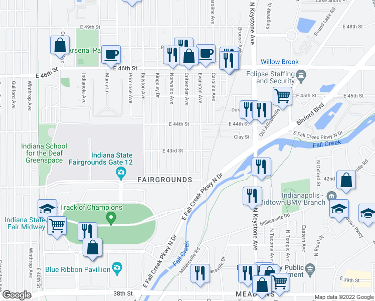 map of restaurants, bars, coffee shops, grocery stores, and more near Crittenden Ave & E 43rd St in Indianapolis