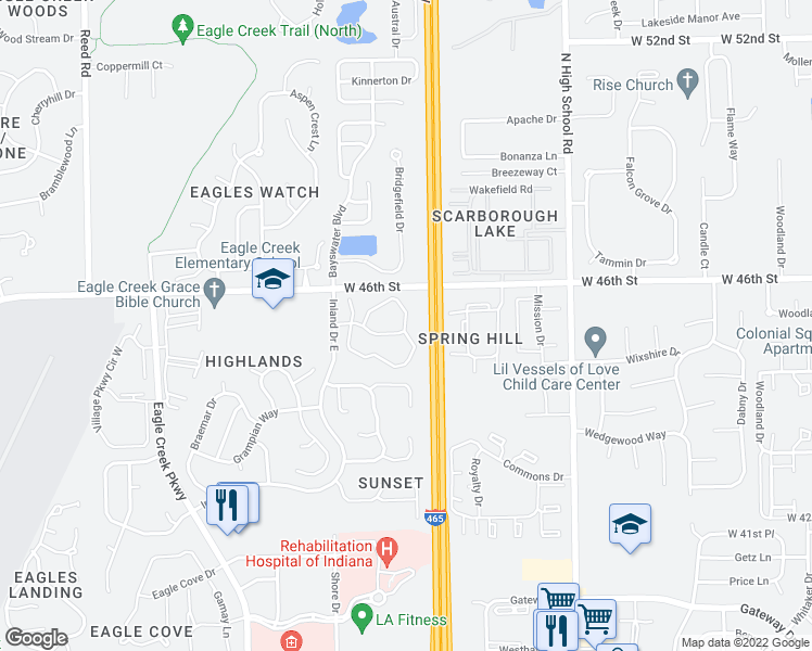 map of restaurants, bars, coffee shops, grocery stores, and more near 6600-6652 Eagle Pointe Drive North in Indianapolis