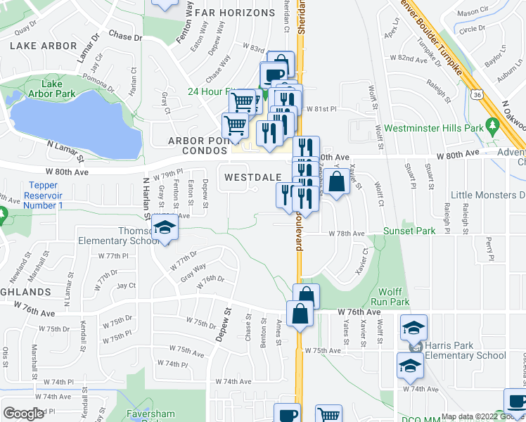 map of restaurants, bars, coffee shops, grocery stores, and more near 7964 Chase Circle in Arvada