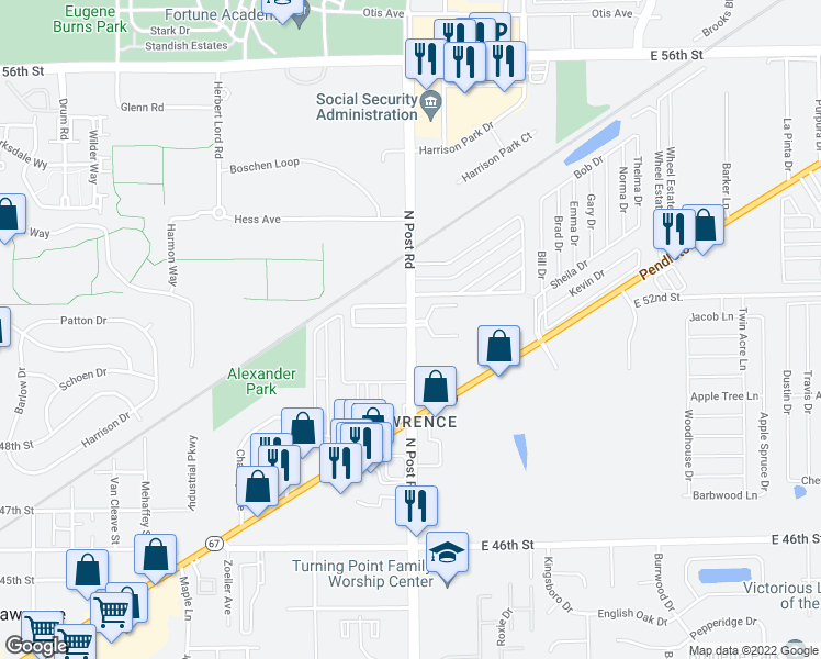 map of restaurants, bars, coffee shops, grocery stores, and more near 9000-9010 North Eldorado Place in Indianapolis
