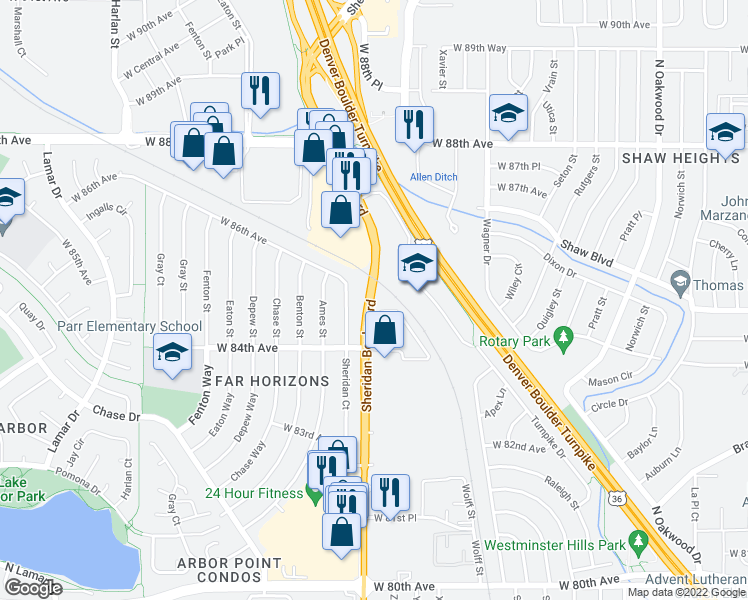 map of restaurants, bars, coffee shops, grocery stores, and more near 8490 N Sheridan Blvd in Arvada