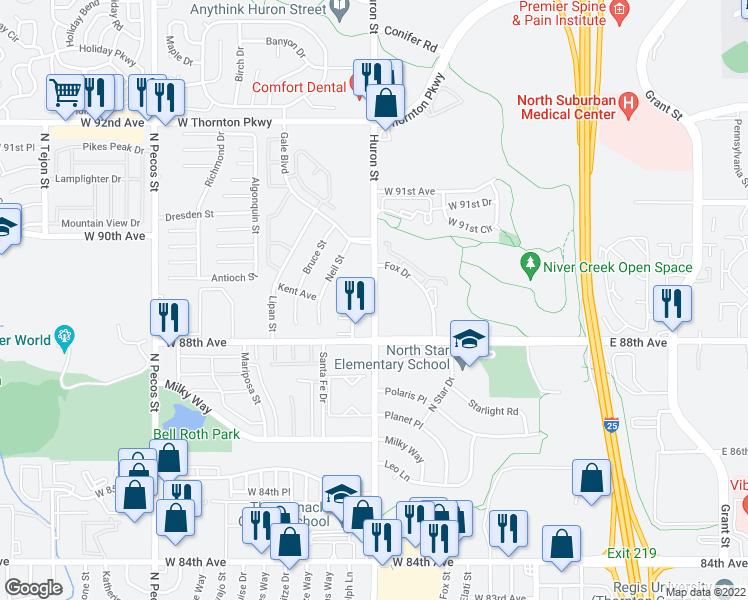 map of restaurants, bars, coffee shops, grocery stores, and more near 8931 Huron Street in Thornton