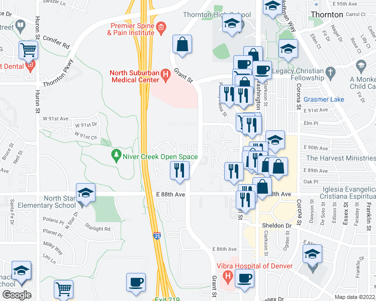 map of restaurants, bars, coffee shops, grocery stores, and more near 8900 Grant St in Thornton