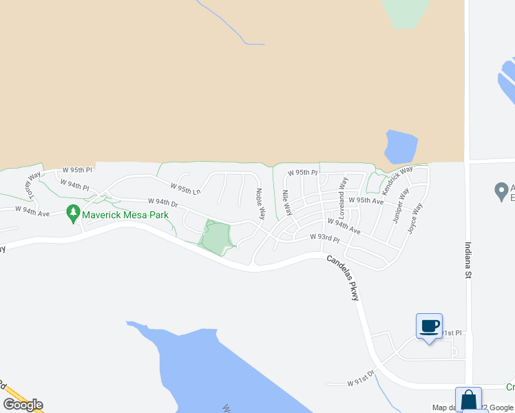 map of restaurants, bars, coffee shops, grocery stores, and more near 9443 Noble Way in Arvada