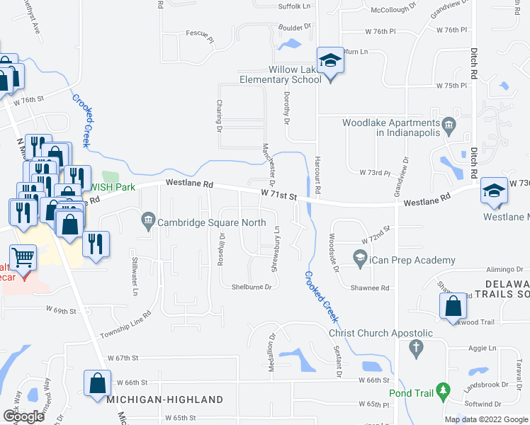 map of restaurants, bars, coffee shops, grocery stores, and more near 7187-7299 Shrewsbury Lane in Indianapolis