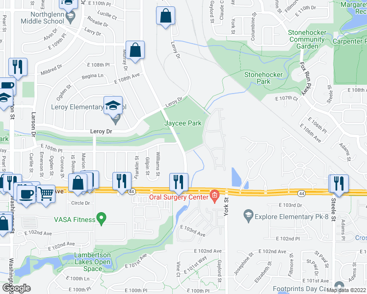 map of restaurants, bars, coffee shops, grocery stores, and more near 10500-10512 Irma Drive in Northglenn