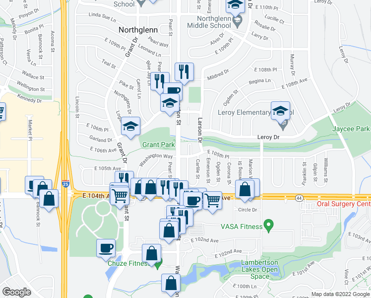 map of restaurants, bars, coffee shops, grocery stores, and more near None in Northglenn