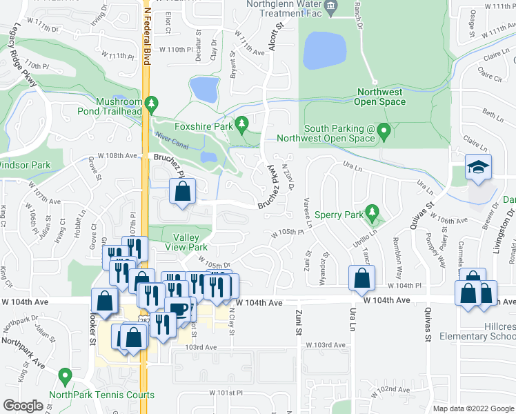 map of restaurants, bars, coffee shops, grocery stores, and more near 2710 Bruchez Pkwy in Denver