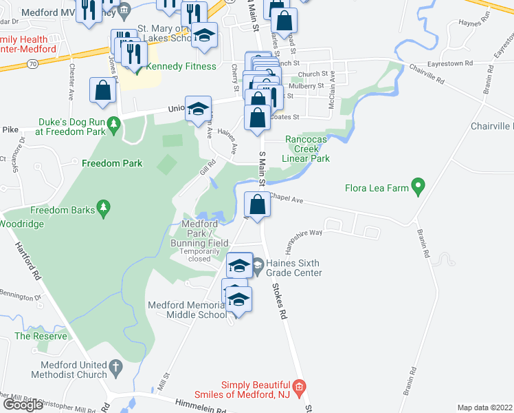 map of restaurants, bars, coffee shops, grocery stores, and more near 10 Mill Street in Medford