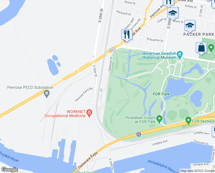 map of restaurants, bars, coffee shops, grocery stores, and more near 3600-3898 Gateway Dr in Philadelphia