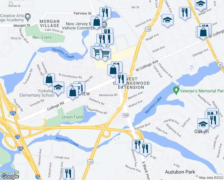 map of restaurants, bars, coffee shops, grocery stores, and more near 3009-3023 South Atlanta Road in Camden