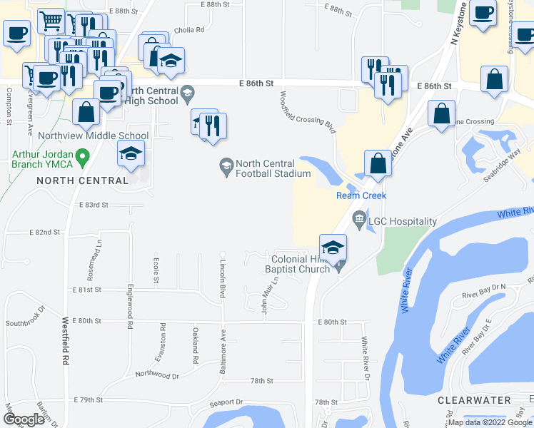 map of restaurants, bars, coffee shops, grocery stores, and more near 8173 Menlo Court East Drive in Indianapolis
