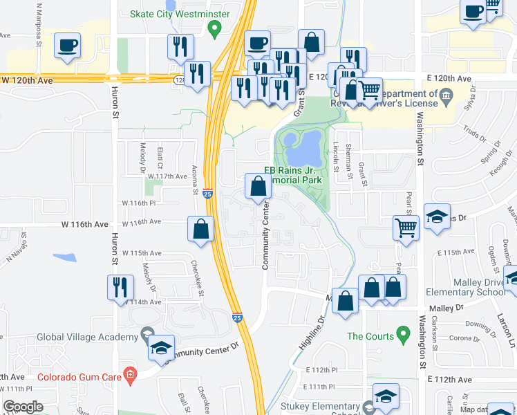 map of restaurants, bars, coffee shops, grocery stores, and more near 11625 Community Center Dr in Denver