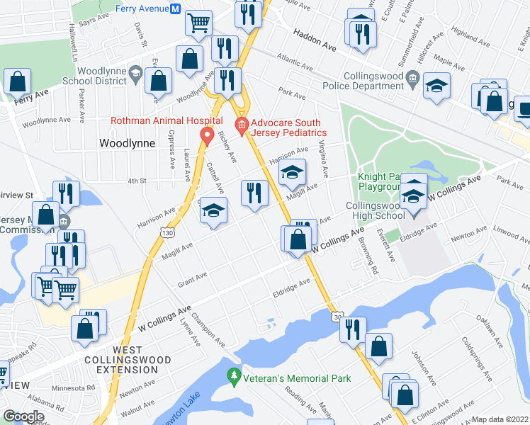 map of restaurants, bars, coffee shops, grocery stores, and more near 401 Richey Avenue in Oaklyn