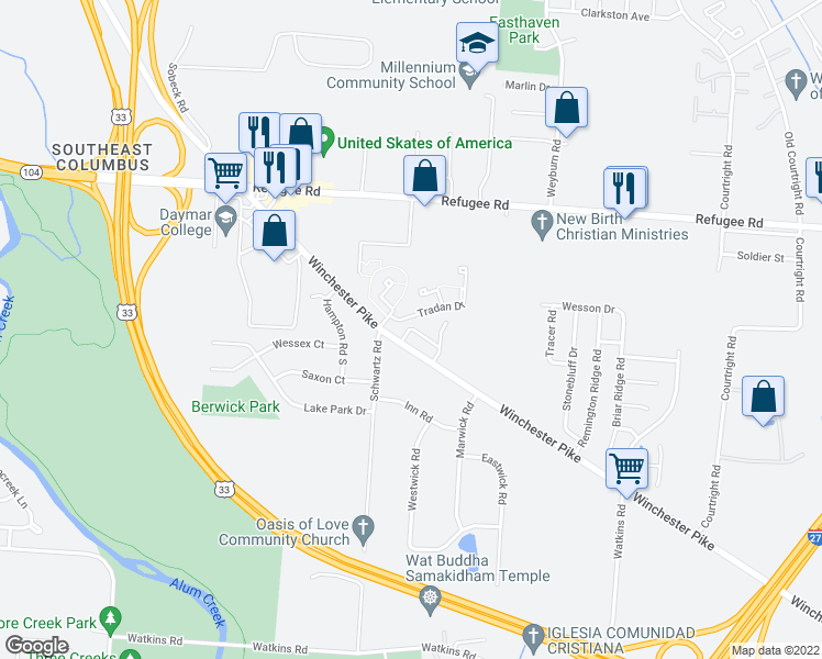 map of restaurants, bars, coffee shops, grocery stores, and more near 2902 Tuppence Drive in Columbus