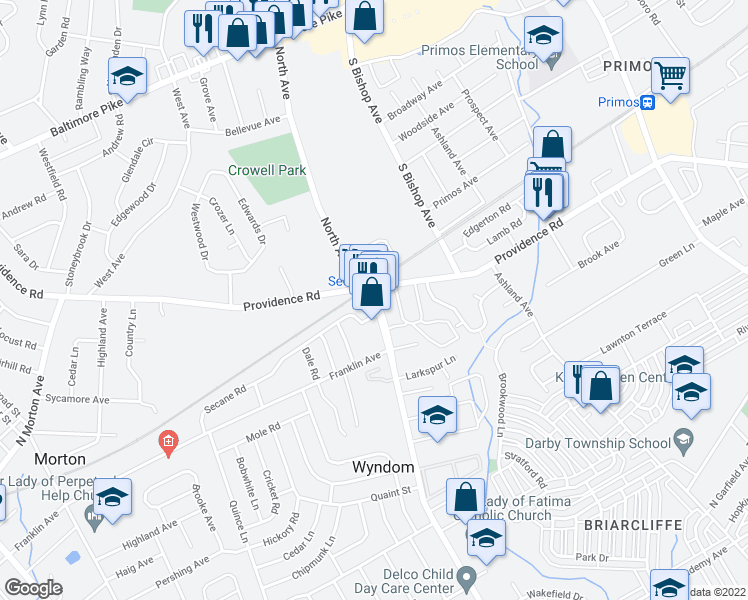 map of restaurants, bars, coffee shops, grocery stores, and more near 606 South Avenue in Upper Darby