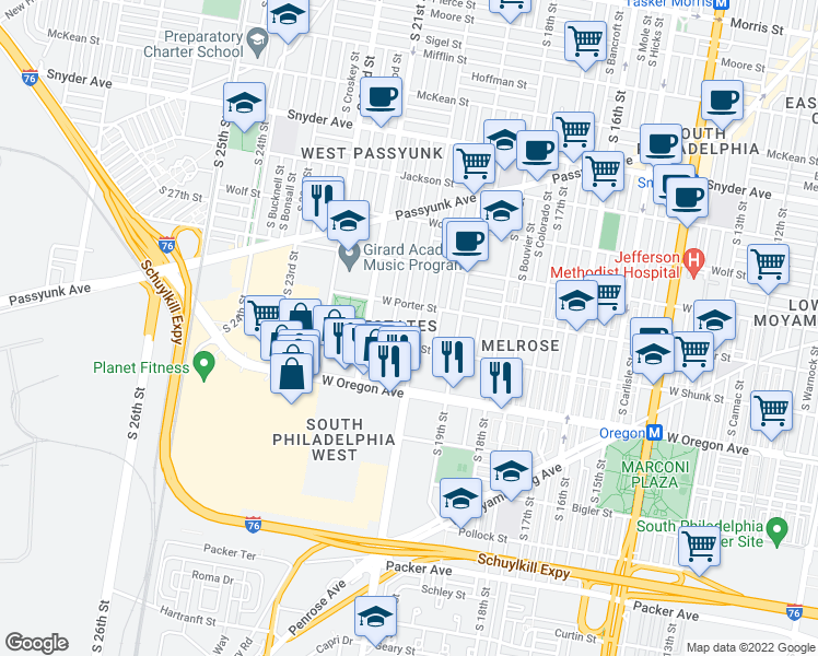 map of restaurants, bars, coffee shops, grocery stores, and more near 2520 South 20th Street in Philadelphia