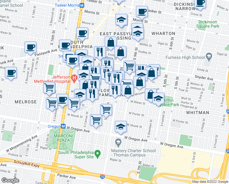 map of restaurants, bars, coffee shops, grocery stores, and more near 2323 S Alder St in Philadelphia