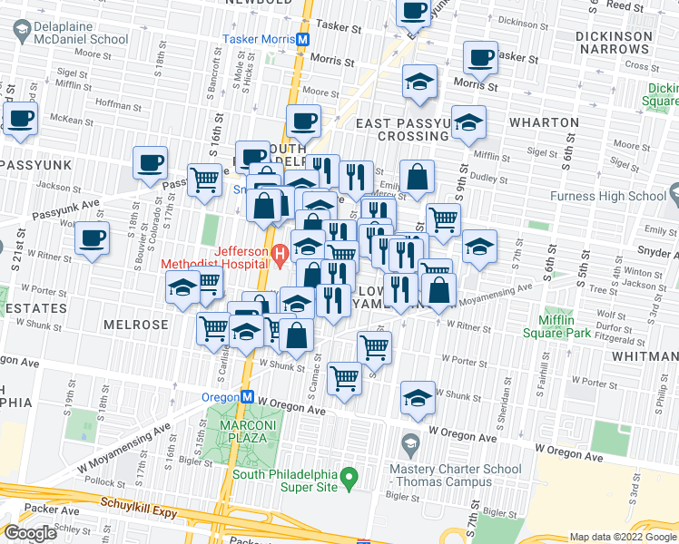 map of restaurants, bars, coffee shops, grocery stores, and more near 2300 S 12th St in Philadelphia