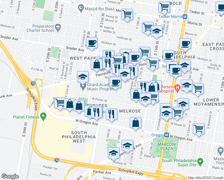 map of restaurants, bars, coffee shops, grocery stores, and more near W Ritner St & S Garnet St in Philadelphia