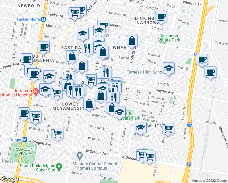 map of restaurants, bars, coffee shops, grocery stores, and more near 2128 South 7th Street in Philadelphia