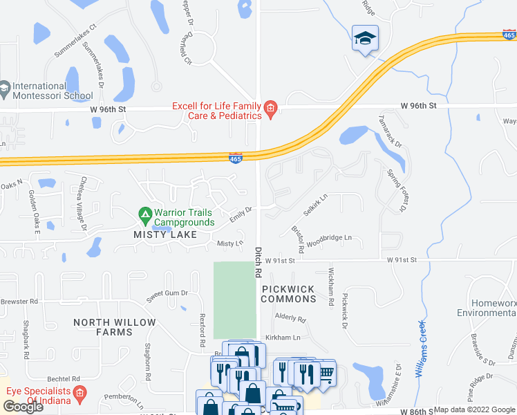 map of restaurants, bars, coffee shops, grocery stores, and more near 9308-9322 Ditch Road in Indianapolis