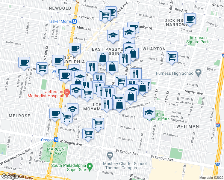 map of restaurants, bars, coffee shops, grocery stores, and more near S 10th St & Jackson St in Philadelphia