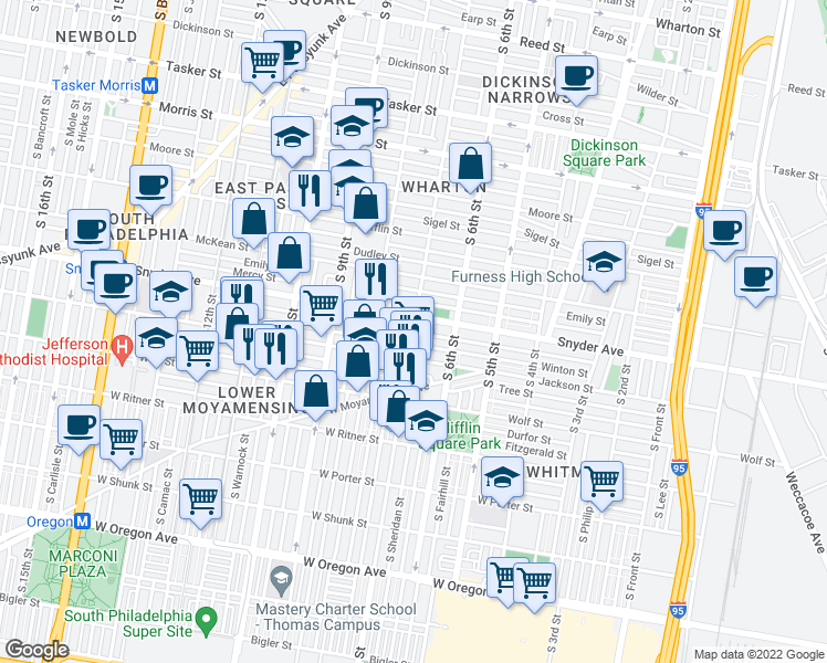 map of restaurants, bars, coffee shops, grocery stores, and more near S 7th St & Cantrell St in Philadelphia