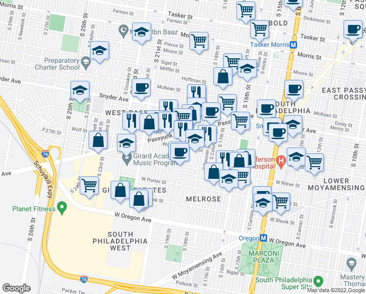 map of restaurants, bars, coffee shops, grocery stores, and more near S 19th St & Wolf St in Philadelphia