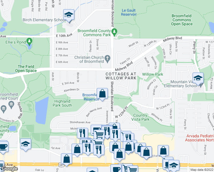 map of restaurants, bars, coffee shops, grocery stores, and more near 12451 Sheridan Boulevard in Broomfield