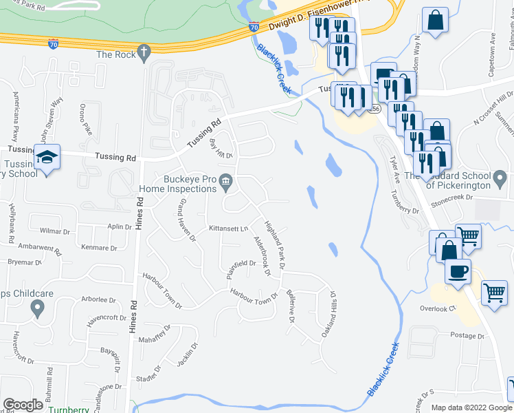 map of restaurants, bars, coffee shops, grocery stores, and more near 3674 Stow Acres Pl in Pickerington