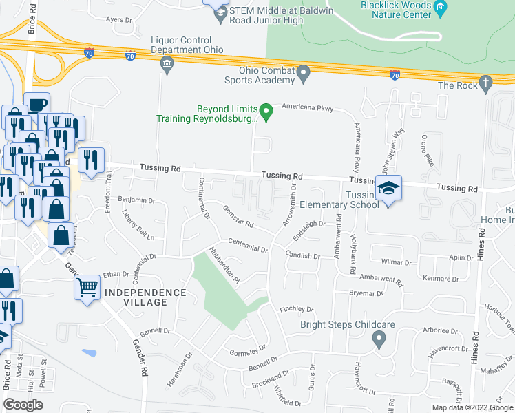 map of restaurants, bars, coffee shops, grocery stores, and more near 2847-2899 Spinnaker Loop in Reynoldsburg