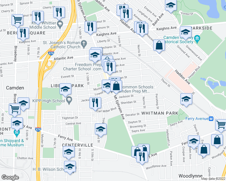 map of restaurants, bars, coffee shops, grocery stores, and more near 1574 Mount Ephraim Avenue in Camden